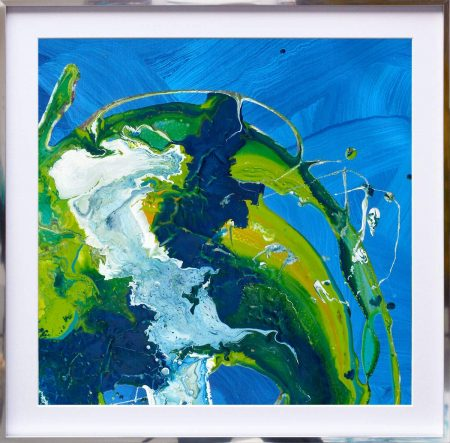 blue green earth style painting