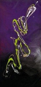 green and purple modern art painting