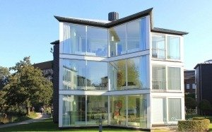 three storey small glass house