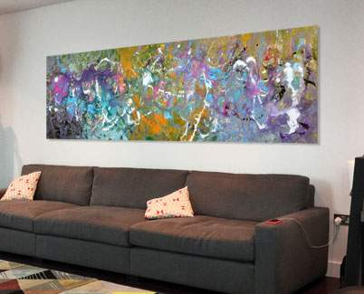 long art behind sofa