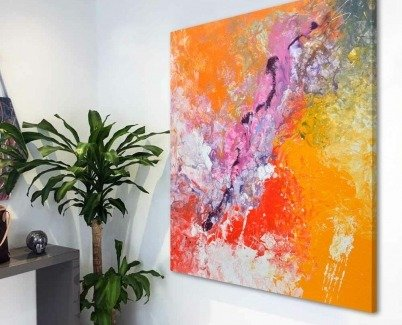orange and pink painting