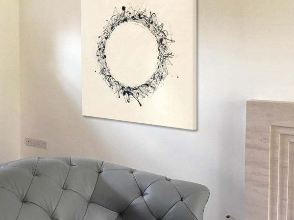 minimal black and white art on a wall