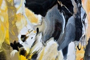 black and yellow abstract art
