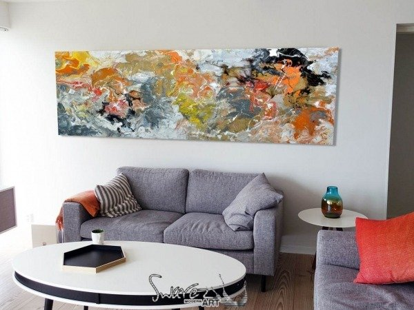 large rectangular abstract painting on a wall