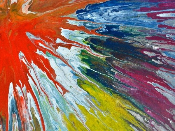 mutli colored paint strokes on canvas