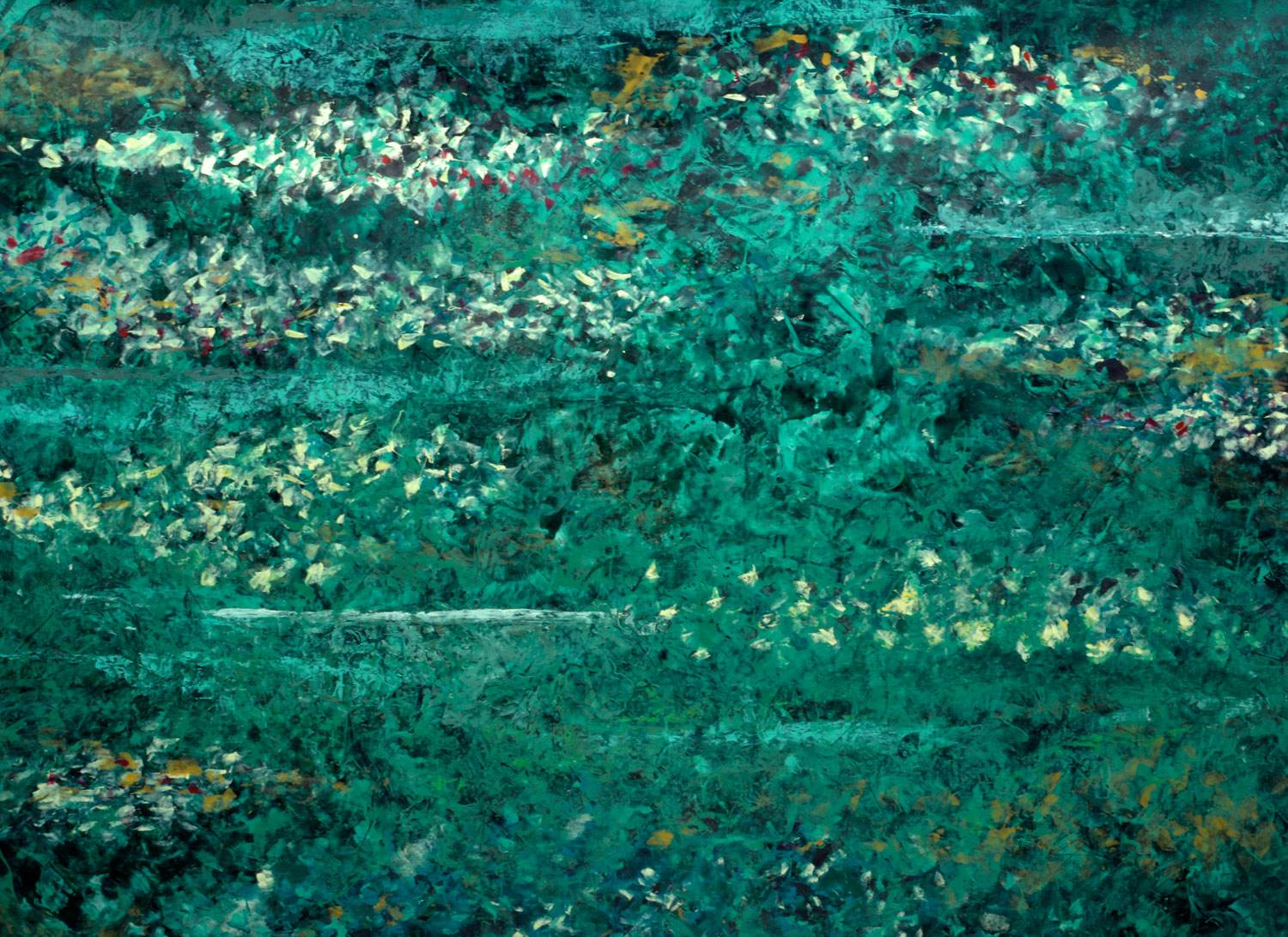 Big green painting with malachite powder