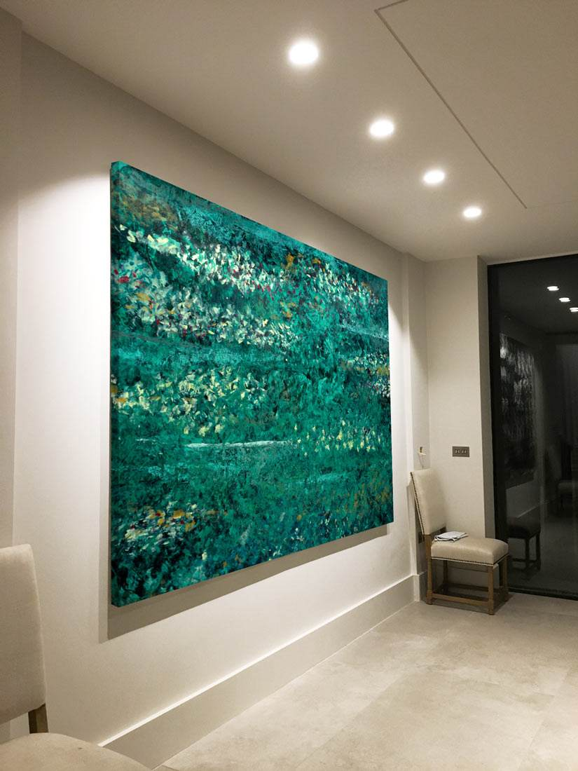 Large Green Abstract Art Inspired By Monet S Water Lillies Swarez Art