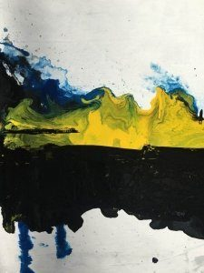 blue and yellow paints