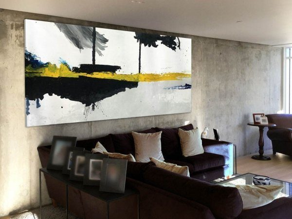 large yellow and black abstract painting