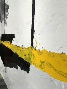 yellow paint on canvas