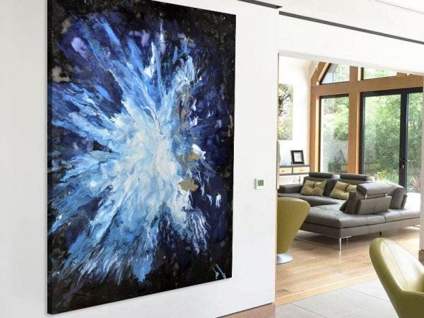 large black and blue art