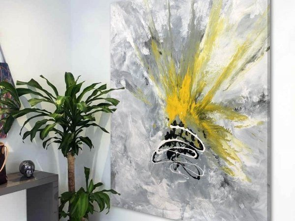 grey and yellow abstract painting