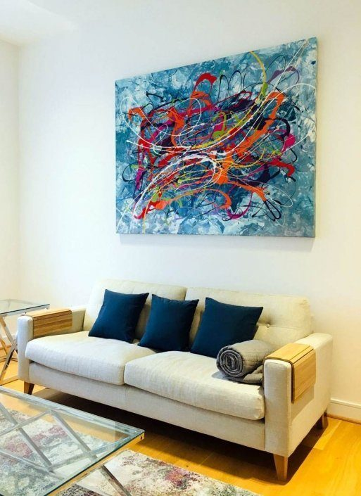 multi-coloured art in living space