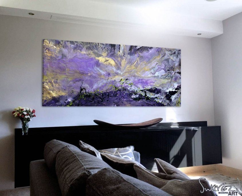 purple and lime green-abstract-art-in-a-living-room