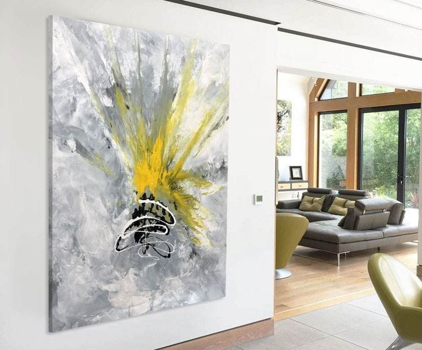 yellow and grey large painting