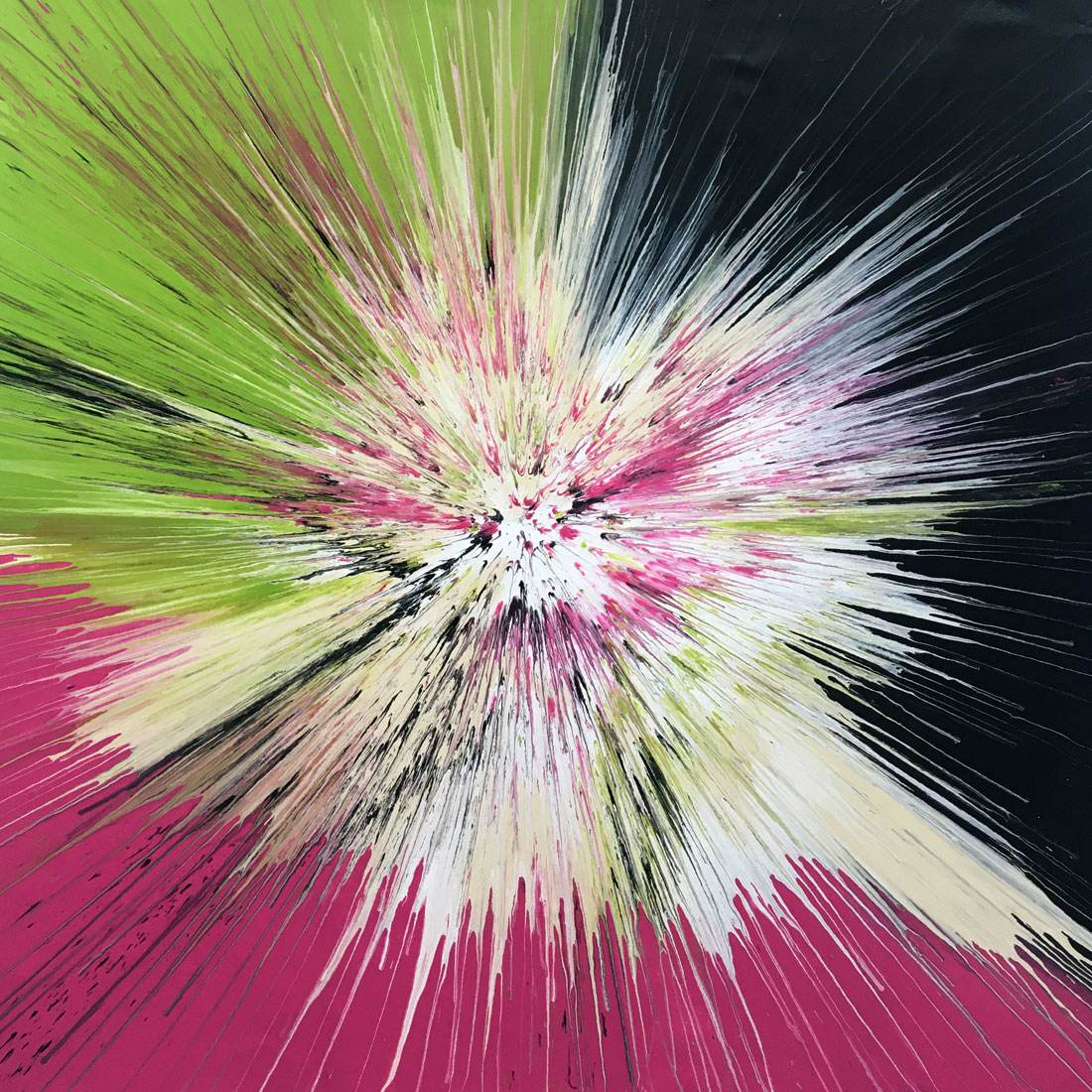 abstract lime green and pink art by Swarez