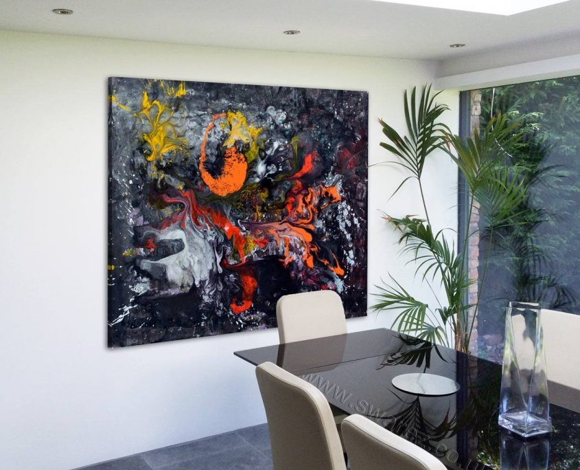 black art in a dining room