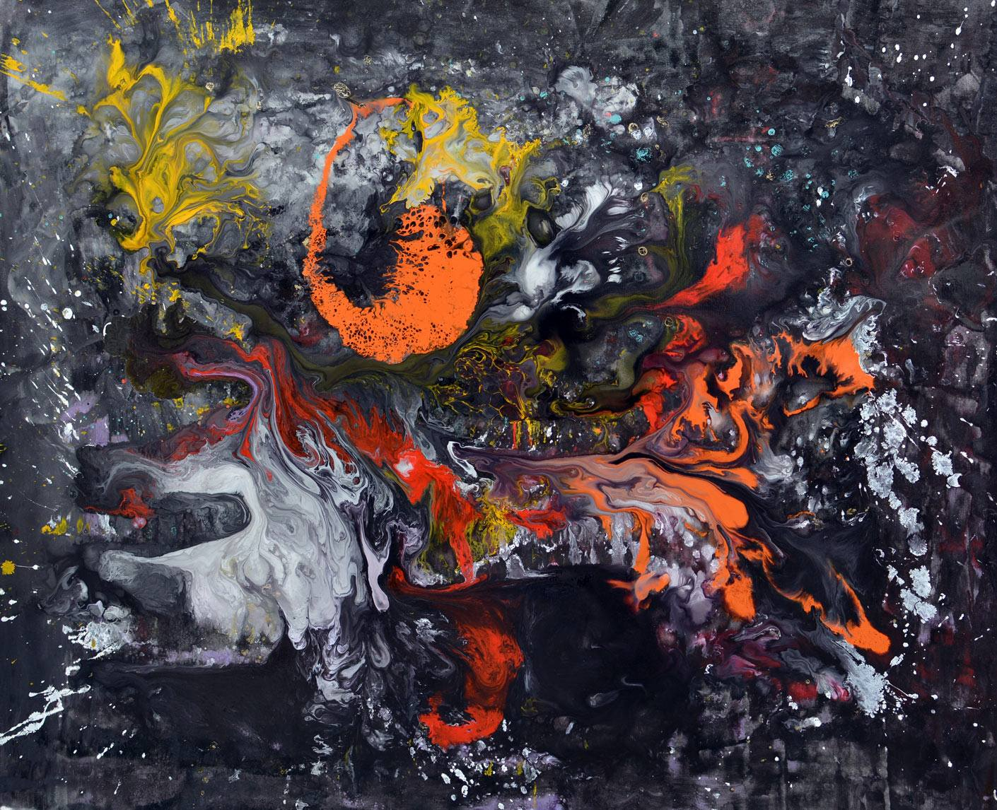 black orange abstract art