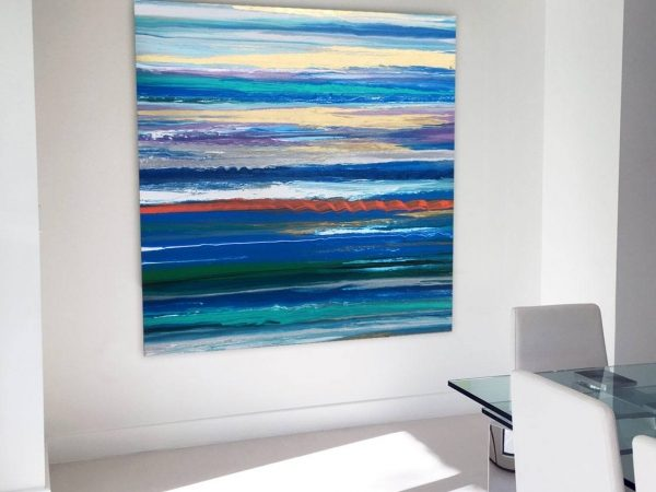 blue striped art in kitchen