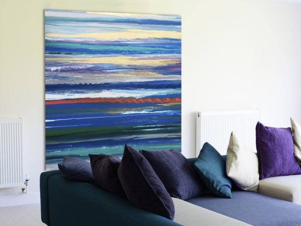 blue striped painting
