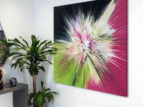 lime green and pink art