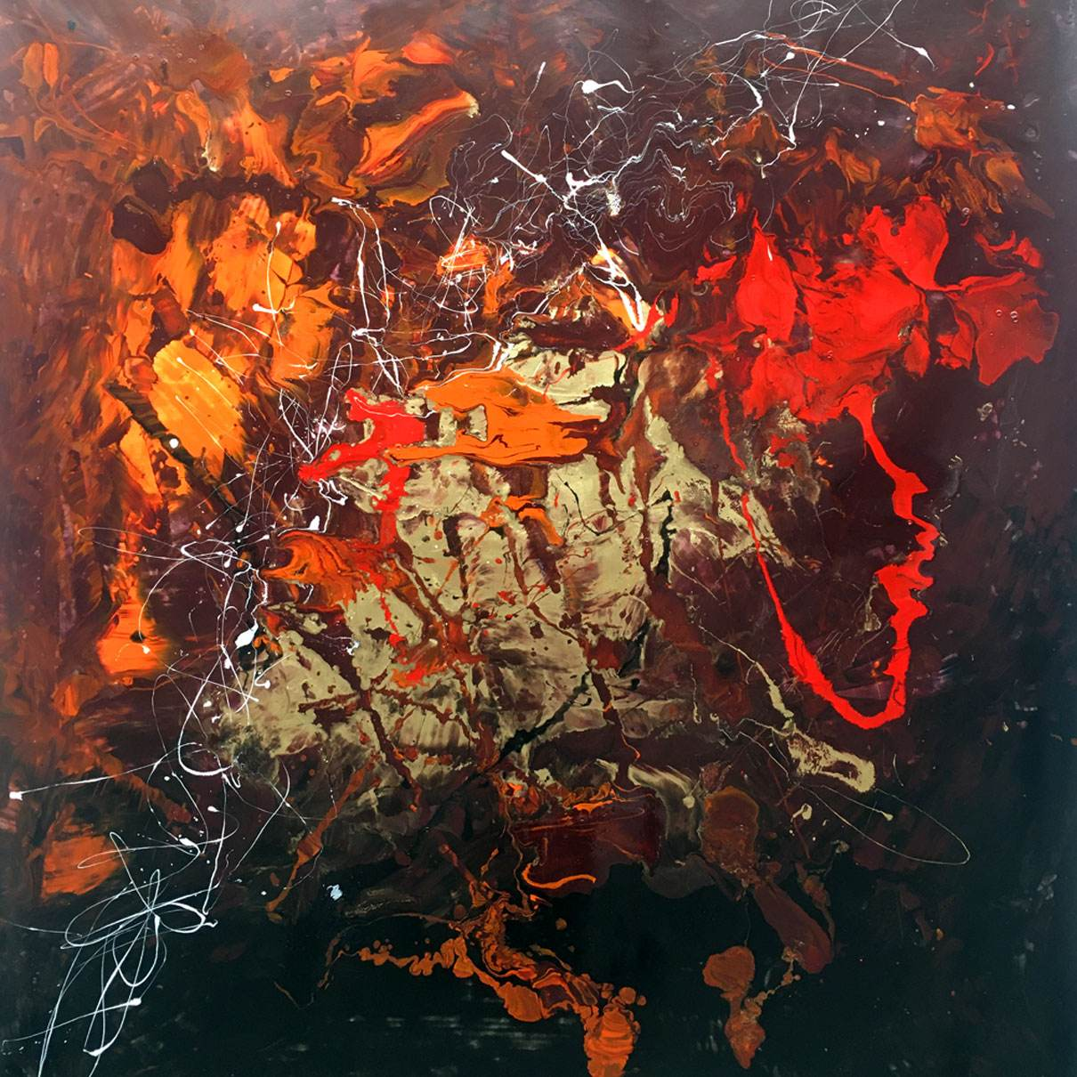 orange and red abstract art