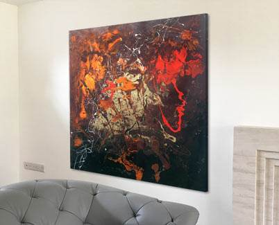 red and orange and black abstract painting