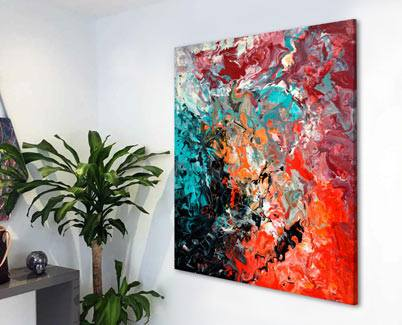 red and turquoise painting