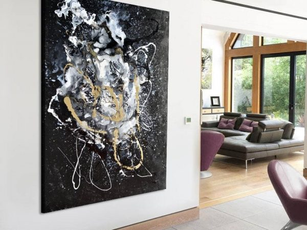 black and gold art on wall