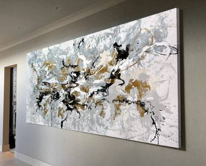 black grey and gold art