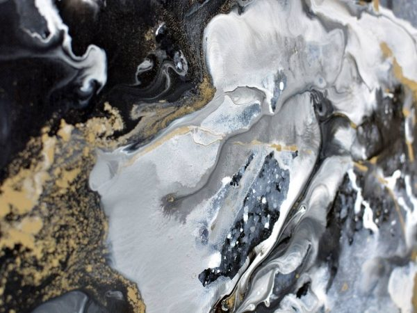 gold grey and white paint on abstract painting