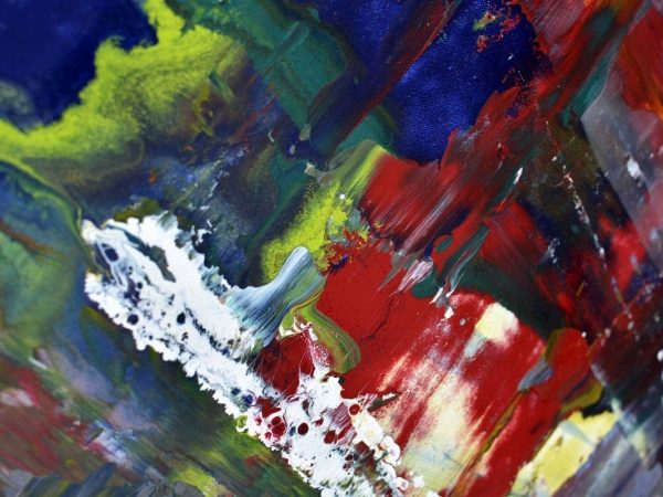 red white and blue paint on canvas