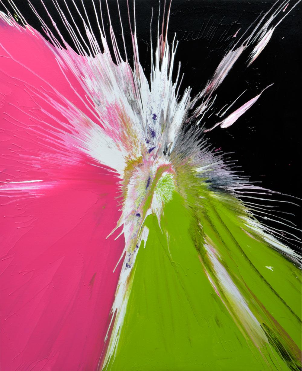 Orchis green and pink abstract art