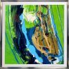 green and blue abstract small painting