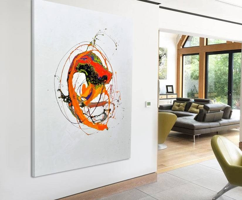 large contemporary minimal orange painting on a wall