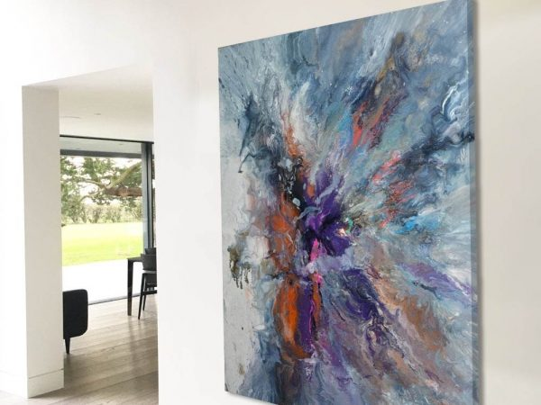 large modern art in contemporary home