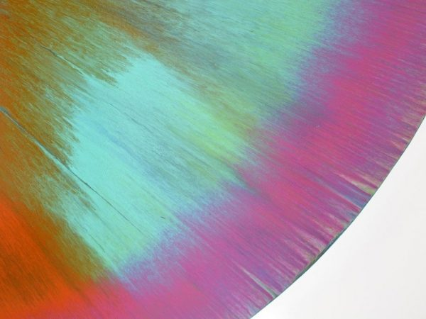 turquoise and pink paint on canvas