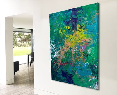 large green abstract painting