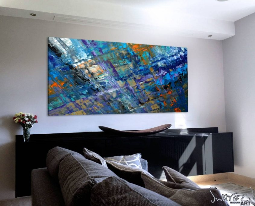 blue-and-gold-abstract-art-in-a-living-room