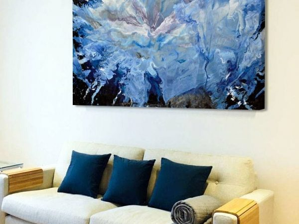 blue art in a living space