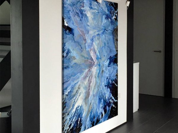portait hanging blue and white abstract art