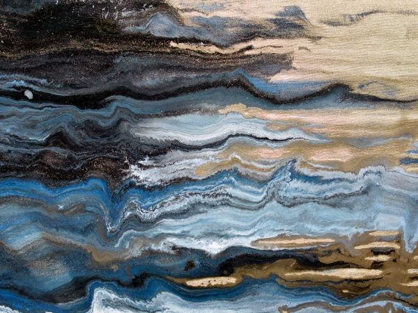 black gold and blue paint strokes