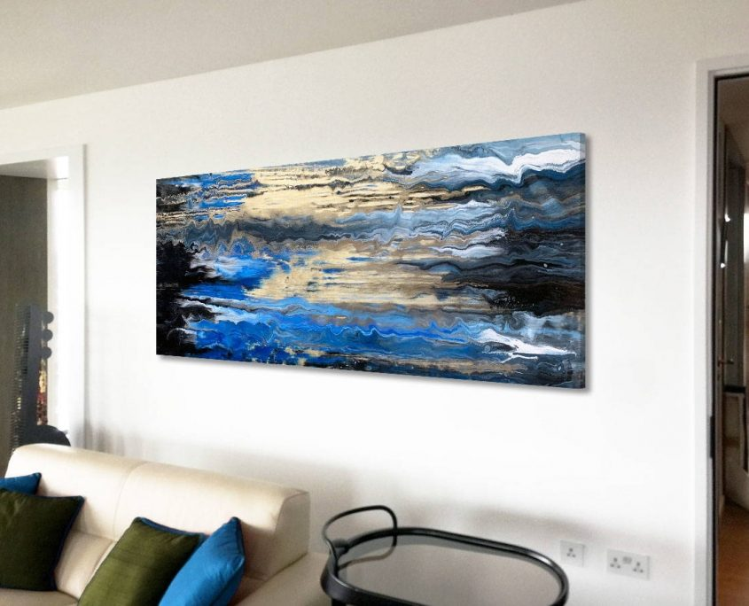 gold blue and white painting on a wall
