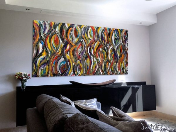 multi colored abstract painting in living space