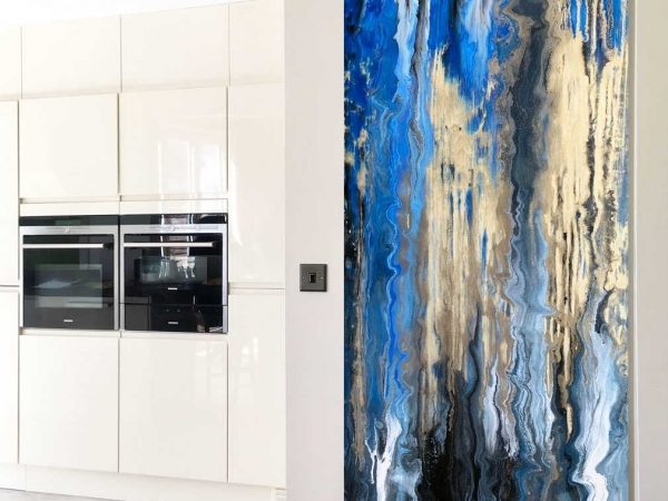 tall abstract art in blue and gold