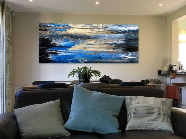 white blue gold painting
