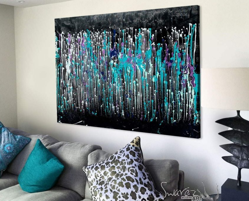 rain styles abstract painting with black and green colours