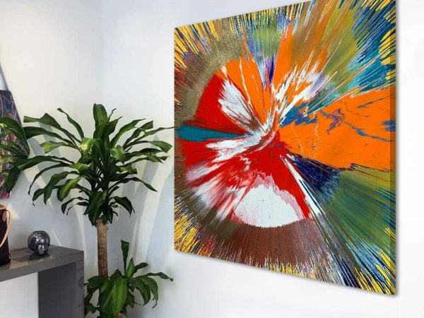 square spin painting in hallway