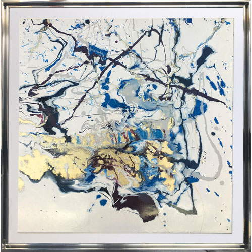 Blue and white abstract art - Atlantica 1