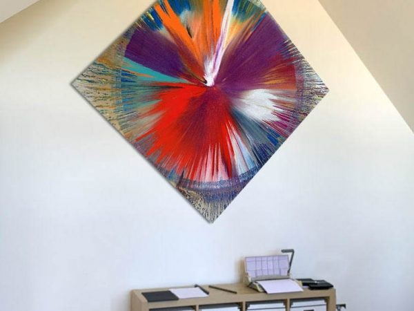 abstract art in a home office